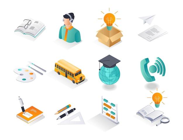 Los conjuntos de iconos isométricos estudian y regresan a la escuela.