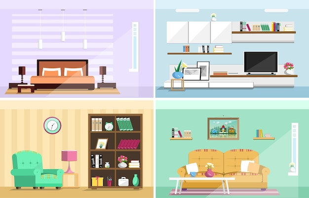 Conjuntos interiores de habitaciones de la casa. salón con estilo, dormitorio.