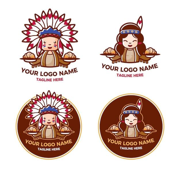 Conjuntos de logotipos de panadería y pastelería apache