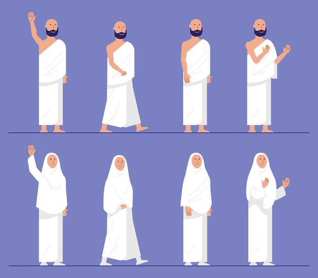 Conjuntos de moderno personaje plano de peregrinación hajj.
