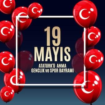 Conmemoración de ataturk, bandera de la jornada juvenil y deportiva.