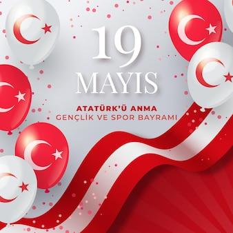 Conmemoración degradada de ataturk, ilustración del día de la juventud y el deporte.