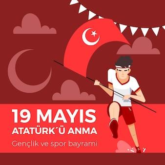 Conmemoración orgánica plana de ataturk, ilustración del día de la juventud y el deporte.