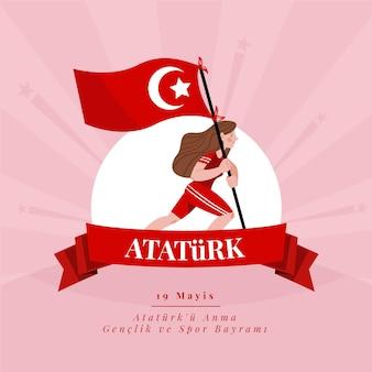 Conmemoración plana de ataturk, ilustración del día de la juventud y el deporte.