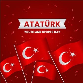 Conmemoración realista de ataturk, ilustración del día de la juventud y el deporte.