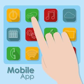 Conmovedoras de la mano símbolos de aplicaciones móviles