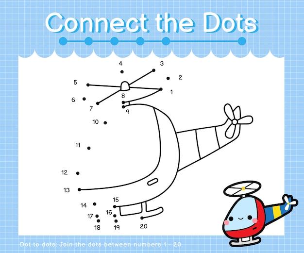 Connect the dots helicopter: juegos de punto a punto para niños que cuentan los números del 1 al 20