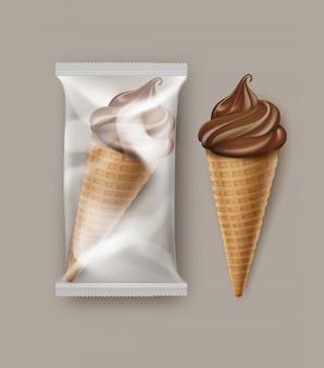 Cono de gofre de helado suave de chocolate de vector con lámina de plástico transparente