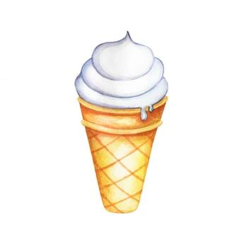 Cono de helado aislado sobre fondo blanco.