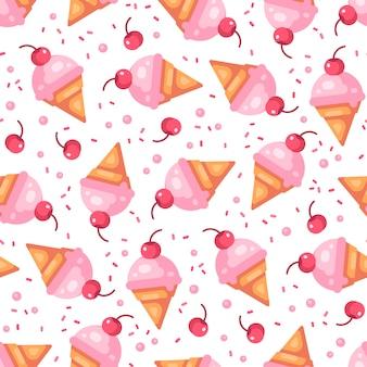 Cono de helado de cereza rosa de patrones sin fisuras