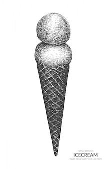 Cono de helado dibujado a mano