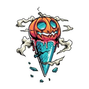 Cono de helado de halloween con calabaza