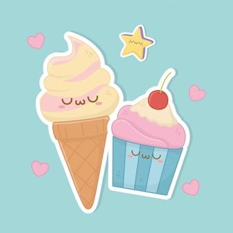 Cono de helado y personajes kawaii de cupcake