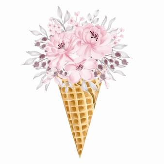 Cono de helado de ramo de flores silvestres rosa claro