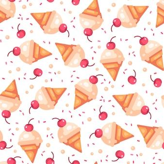 Cono de helado de vainilla cereza de patrones sin fisuras