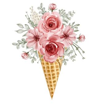 Cono de hielo de acuarela con flores
