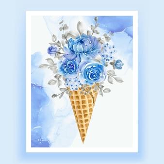 Cono de hielo con flor de acuarela azul