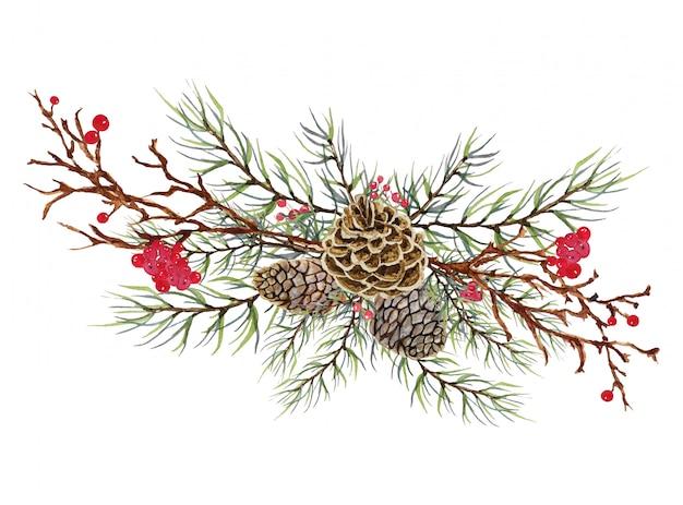 Cono de pino de navidad con hojas verdes y frutos rojos - decoración de celebración de navidad