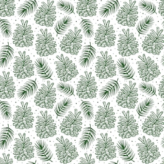 Cono con rama de abeto pino elemento de patrones sin fisuras