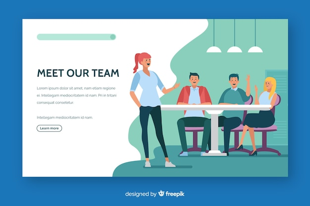 Conoce nuestro equipo de landing page de diseño plano.