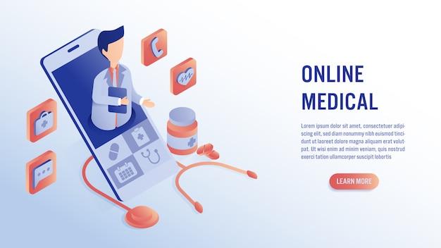 Conocer a un médico profesional en línea en un concepto de aplicación de teléfono inteligente.