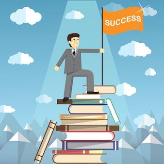 El conocimiento es el camino hacia el éxito. el hombre en la cima de una montaña de libros. ilustración web conceptual para el poder del conocimiento. estudiantes que alcanzan nuevas alturas a través de los libros y el aprendizaje