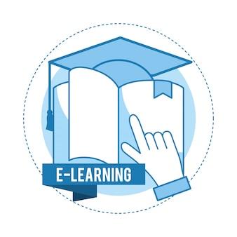 Conocimiento del libro con tapa de graduación y mano.