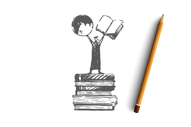 Conocimiento, poder, libros, estudiante, concepto de aprendizaje. persona dibujada mano de pie en la pila de libros boceto del concepto. ilustración.