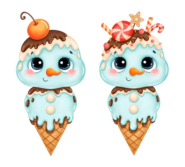 Conos de helado navideños