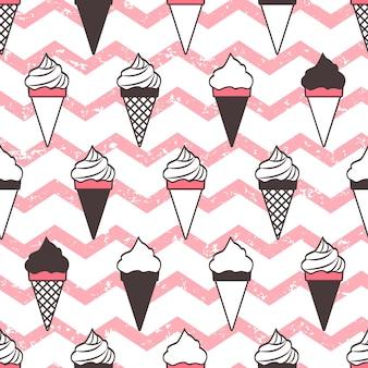 Conos de helado de patrones sin fisuras, grunge de onda rosa.