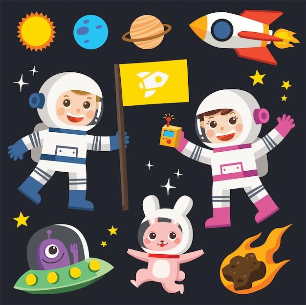 Conquista del espacio. elementos espaciales. planeta tierra, sol y galaxia, nave espacial y estrella, luna y astronauta de niños pequeños, ilustración.