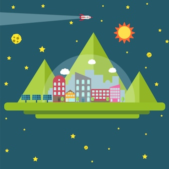 Conquista del espacio. futura colonia humana. elementos espaciales.