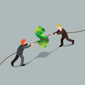 Conquista del hombre de negocios sobre el concepto isométrico de las finanzas