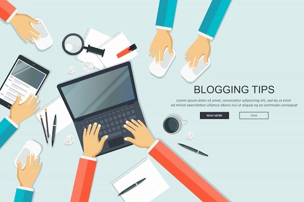 Consejos de blogging, concepto de escritorio de trabajo.