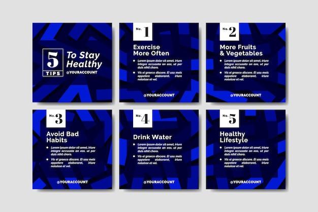 Consejos para la colección de publicaciones de instagram en tonos degradados azules