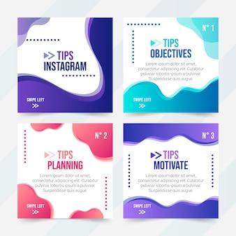 Consejos coloridos colección de publicaciones de instagram