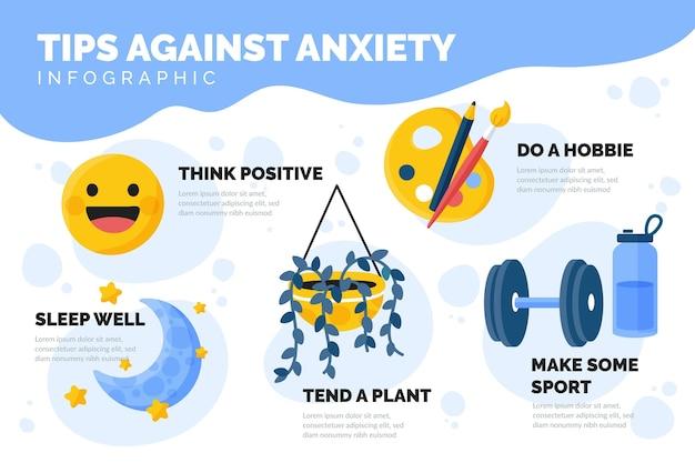 Consejos para el concepto de infografía de ansiedad