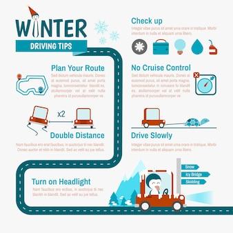 Consejos de conducción de invierno infografías para viaje de seguridad
