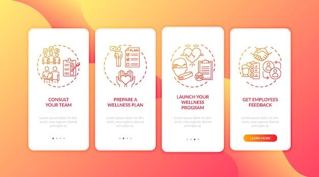 Consejos para el éxito del bienestar en el lugar de trabajo al incorporar la pantalla de la página de la aplicación móvil con conceptos. consulta, plan de bienestar tutorial instrucciones gráficas de cuatro pasos. plantilla de interfaz de usuario con ilustraciones en color