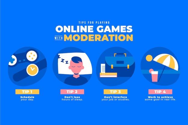 Consejos para jugar juegos en línea con infografía de moderación