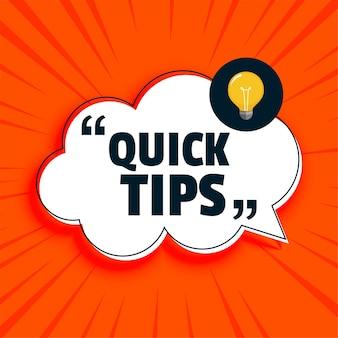Consejos rápidos consejos con fondo de bombilla