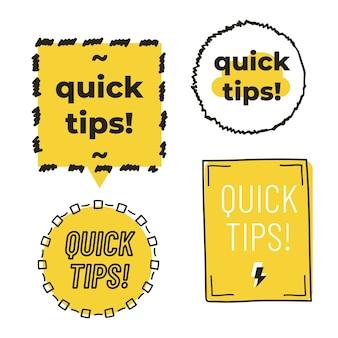 Consejos rápidos con marco dibujado a mano aislado sobre fondo blanco.