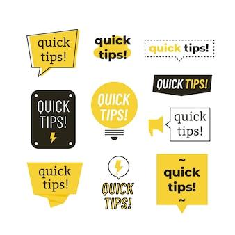 Consejos rápidos, trucos útiles logotipos, emblemas y pancartas conjunto aislado