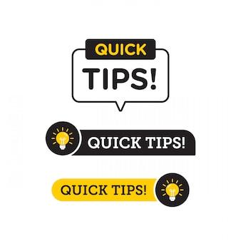Consejos rápidos, trucos útiles vector icono de logotipo o símbolo con color negro y amarillo y elemento de bombilla