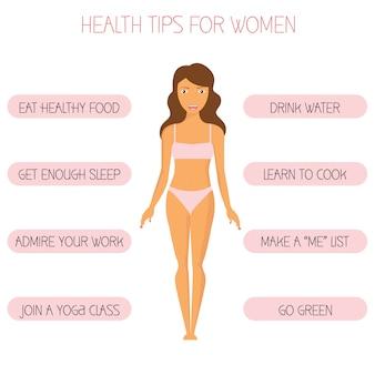 Consejos de salud para las mujeres ilustración vectorial. estilo de vida saludable para damas jóvenes. personaje de dibujos animados lindo