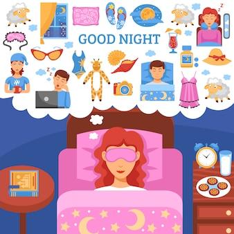 Consejos para el sueño nocturno saludable fondo plano