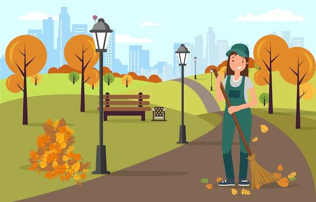 Conserje barriendo y limpiando el camino de las hojas.