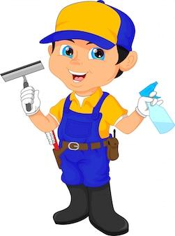 Conserje chico en un traje azul con herramientas de limpieza