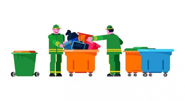Conserje limpiador jardinero personas clasificando basurero