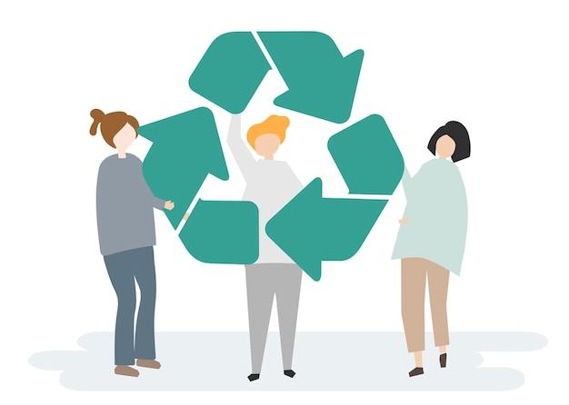 Conservación ambiental y el símbolo de reciclaje
